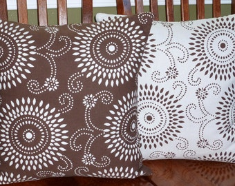 Decorative Pillows, Accent Pillows, Pillow Covers, Home Decor, Decorative Cushions - Two18 Inch in Chocolate and White