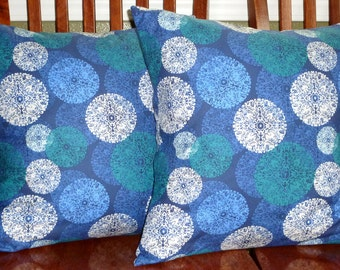 Pillows, Decorative Pillows, Accent Pillows, Pillow Covers, Home Decor - Ty Penningtons Impressions Blues and White - Two 18 Inch