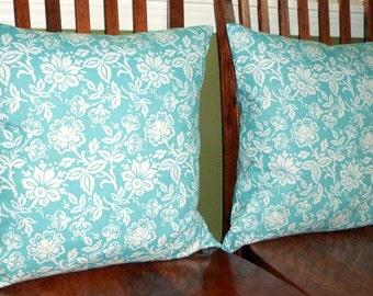 Decorative Accent Throw Pillow Covers - Two 18 Inch - Aqua