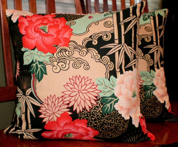 Decorative Accent Pillow Covers - Two 18inch - Black Asian Inspired Print