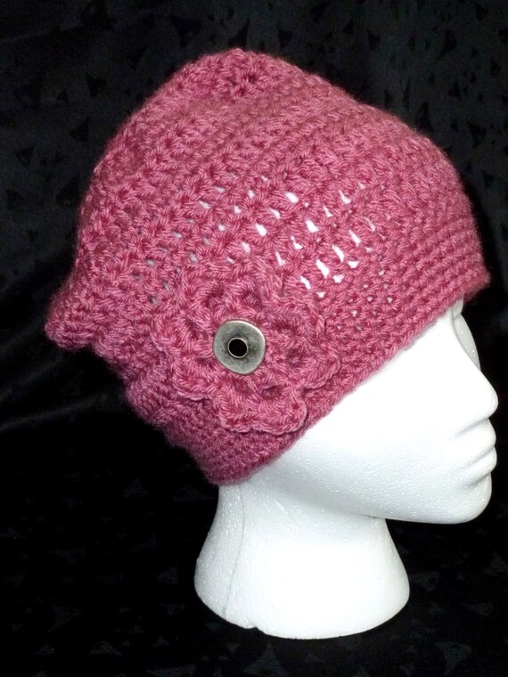 Crochet Beanie Hat in Rose with Detatchable Crochet Flower