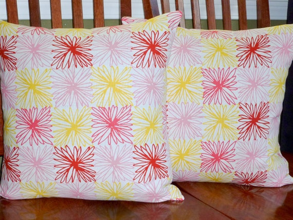 Decorative Pillows, Throw Pillows, Pillow Covers, Toss Pillows - Pink, Red and Yellow - Set of Two 18""
