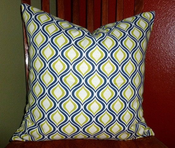Decorative Accent Pillow Cover - One 18 Inch - Blue and Lime Green