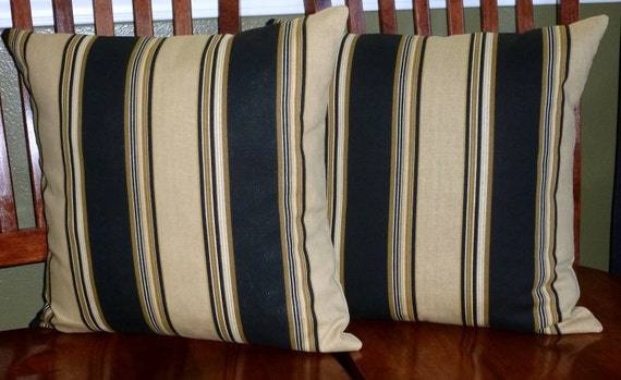 Accent Throw Pillow Covers Black and Tan Stripe Two by berly731