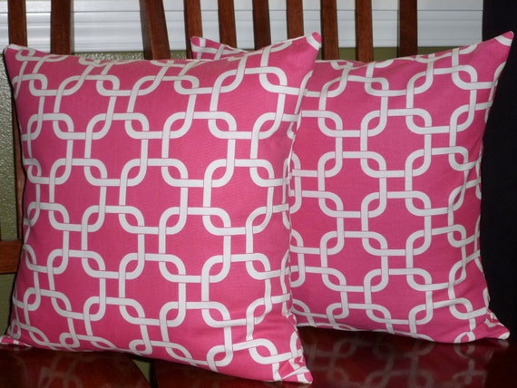 Decorative Pillow Covers in Candy Pink and White -Two 18 Inch