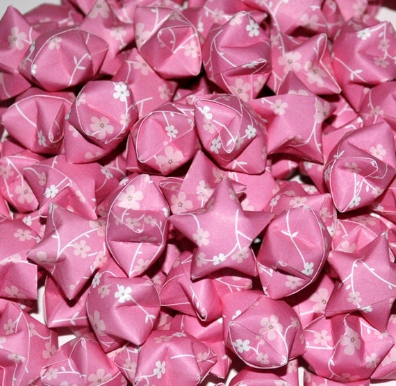 SALE Pink With White Flowers Lucky Stars