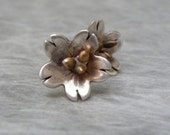Silver Flower Earrings, Flower Stud Earrings. Fine Silver and Sterling Silver, Earrings by MidnightBlueJewels on Etsy