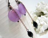 Dangle Earrings, Purple Jade Coins, Faceted Black Onyx, Oxidized  Copper