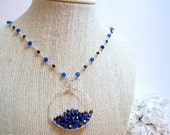 Rosary Chain Necklace, Stacked Agate Czech Glass Hand Forged Bronze, Blue and Silver