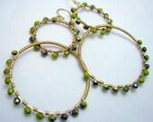 Double Hoop Dangle Earrings, Wire Wrapped, Gold Brass, Czech Glass, Green