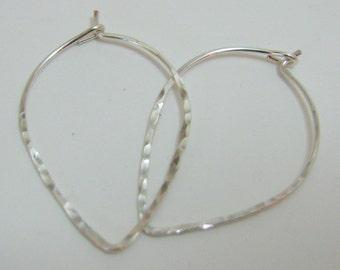 "Silver Filled Teardrop Hoop Earrings 1"""