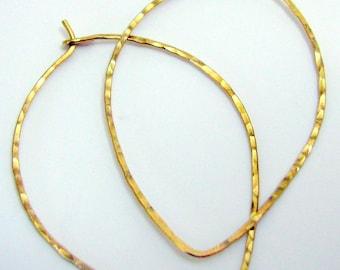 """Gold Brass Teardrop Hoop Earrings 1"""""""