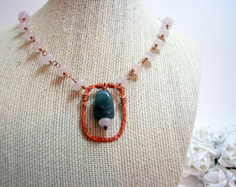 Copper Rosary Wrapped Necklace, Rose Quartz, Green Jasper