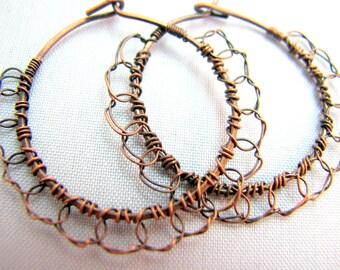 Wire Crochet Hoop Earrings - Oxidized Copper