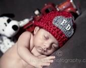Fireman Hat Girl Boy Photo Props Newborn only
