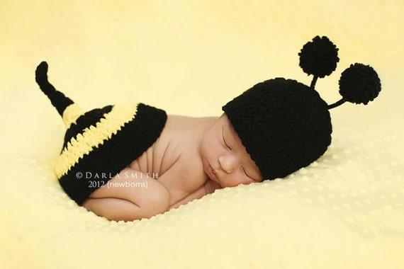 NEWBORN ONLY  Baby Bumble Bee Hat & Tushie Topper Set  As Seen in PUBLISHED book!