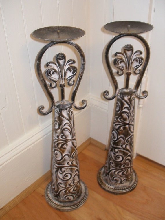 Pair of tin candle holders CLOSE OUT SALE