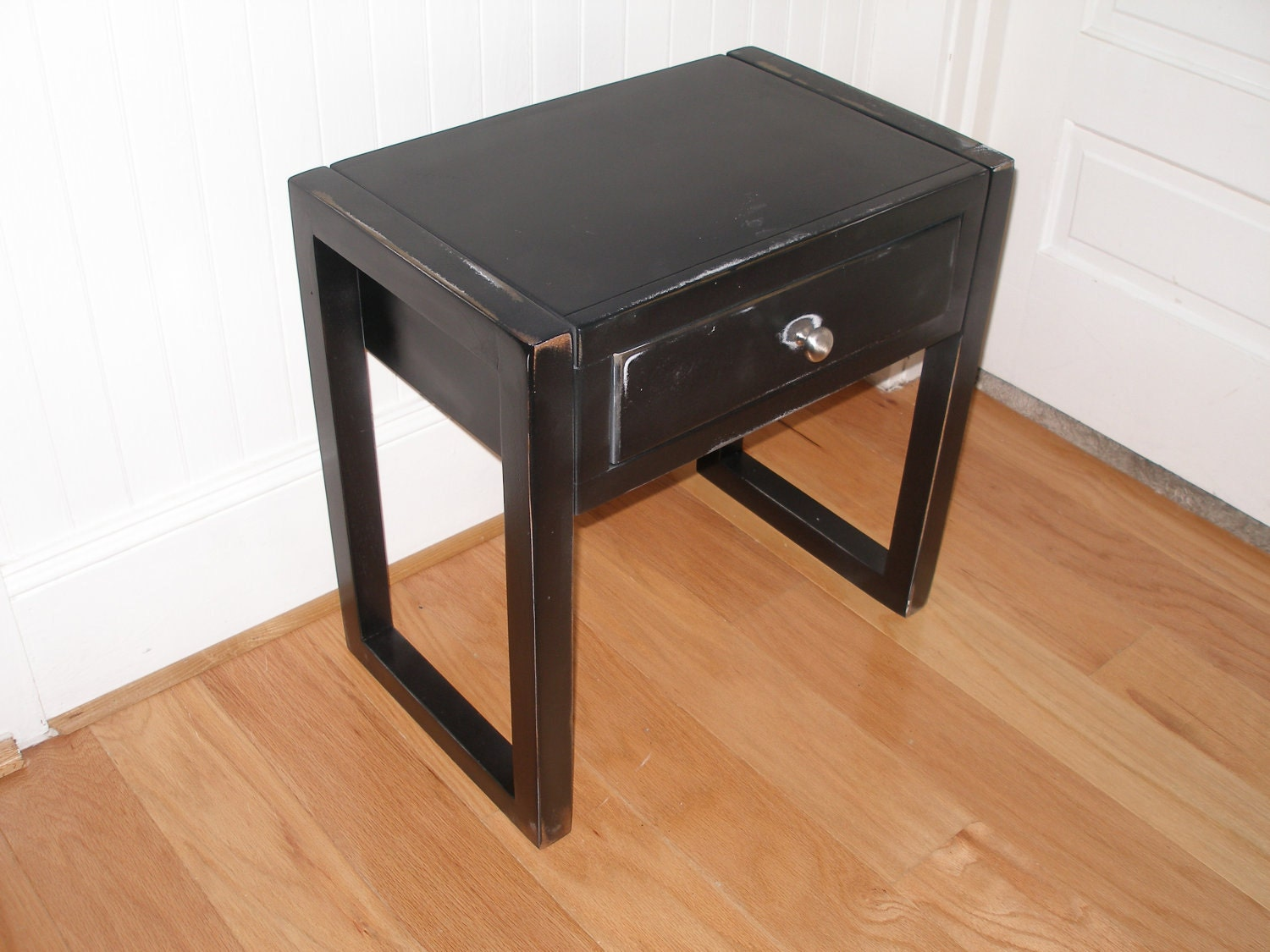 End tables wood with black distressed finish sale