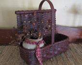 Primitive Painted Handwoven Countertop Basket