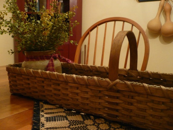 Gathering Basket Making Materials : Primitive handwoven long skinny basket storage