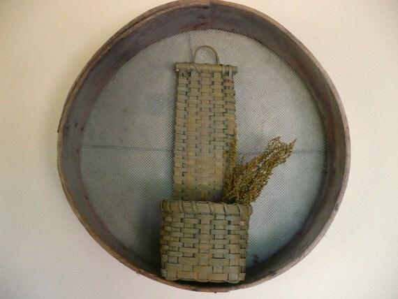 Cherokee Comb Primitive Painted Handwoven Basket