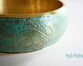 Floral Patina Bracelet, Bangle Bracelet, Brass, Flower Bracelet, Distressed, Gifts Under 20