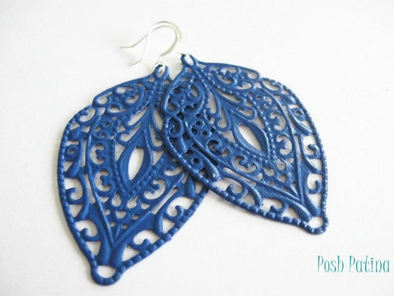 Blue Filigree Earrings, Dangle, Hand Painted, Blue Chandelier Earrings, Black Friday, Cyber Monday, Gift for Her