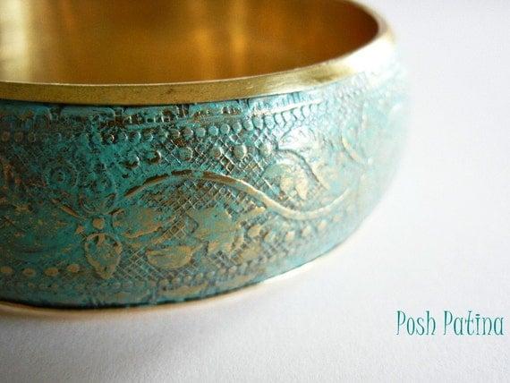 Floral Patina Bracelet, Bangle Bracelet, Brass, Flower Bracelet, Distressed, Gifts Under 20