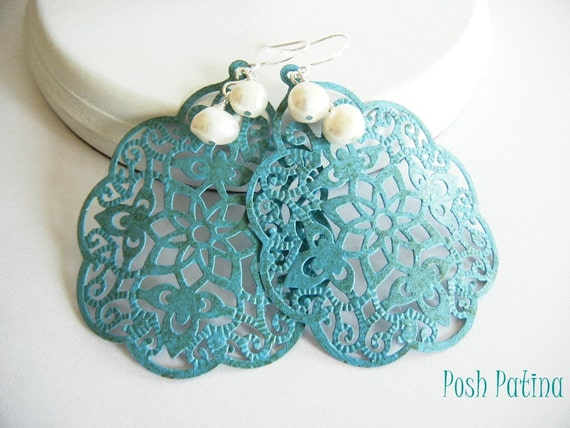 Exotic, Blue Chandelier Earrings, Hand Painted, Filigree, White Pearl, Flower Earrings, Gift for Her