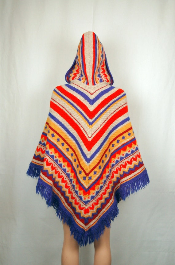 70's Knit Pancho- Hooded- Bright Aztec - Long and Fringed