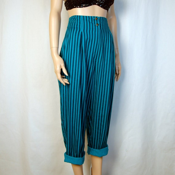 90's High waisted Teal Pinstripe Gaucho Pants W/ Lace up Back M