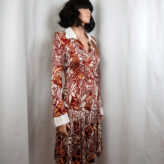 60's Jungle Print Mod Dress S