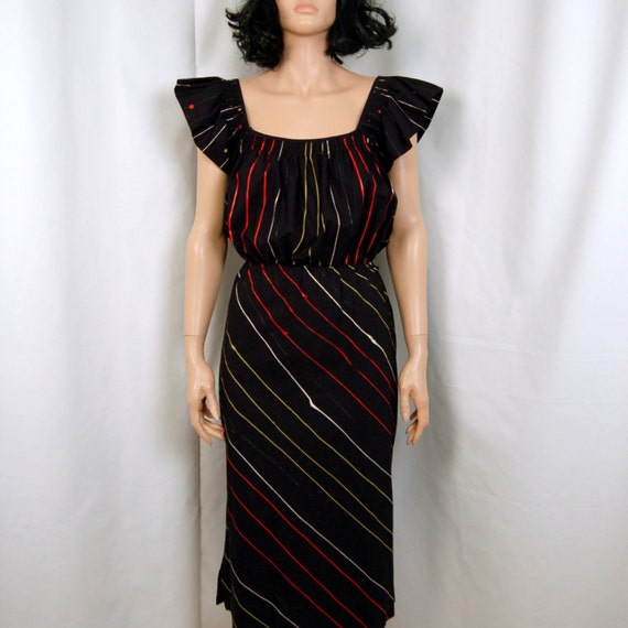 80's Bombshell Painted Stripes Ruffled DESIGN HOUSE Dress M L