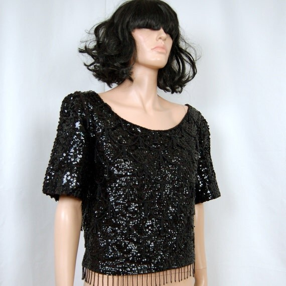 50's 60's Black Sequin Beaded Fringed Shell top L - XL
