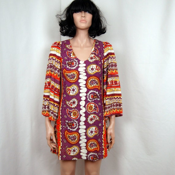 60's Bell Sleeve Psychedelic Mini CLIMAX Dress S M