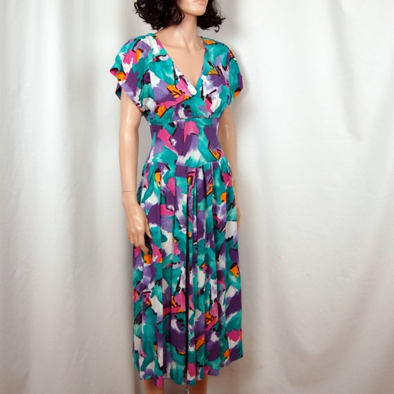 80's Abstract Floral Bright Rayon Sundress S
