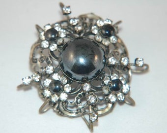Antique Hematite Brooch