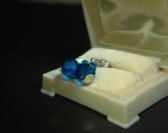 Vintage Pierced Blue Crystal Drop Earrings
