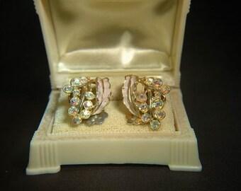 Pink Enamel Goldtone Clip On Earrings