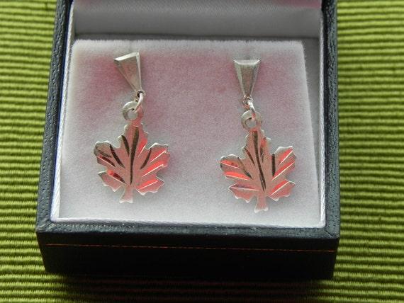 Sterling Silver Maple Leaf Stud Earrings