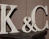 PERSONALIZED, MONOGRAMMED wood INITIALS with Ampersand-Hand-cut and Hand-painted
