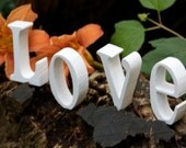 """Painted 3"""" Wood Love Sign   Perfect for Valentine's Day or a Wedding"""