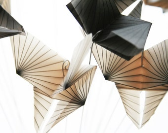 Geometric Butterflies Bouquet - translucent origami - paper decor - cream and gray, gift idea, origami sculpture by Nikki Cross Applesauce