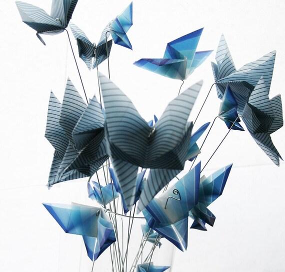 SALE - Butterfly Bouquet - Blue Translucent Origami Butterflies Fluttering - Plant Decoration Sticks, or unique flower bouqet
