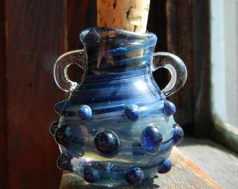 Gorgeous Smoky Blue Stash Jar, Oil Vessel