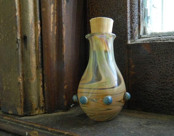 Refined Earth Tone Blown Glass Stash Jar or Oil Vessel