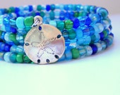 SALE Nautical Memory Wire Bracelet with Sand Dollar Charm
