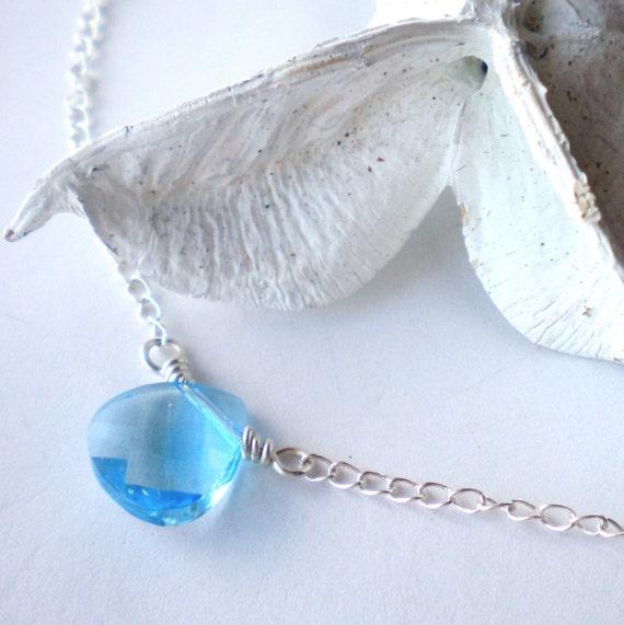 Swarovski Crystal Necklace Aquamarine Briolette Sterling Silver Petite