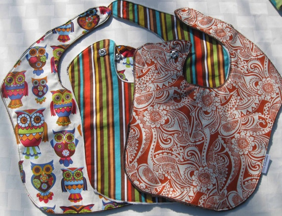 Multi Colored Owls Stripes and Paisleys Unisex Baby Bib 3-Pack