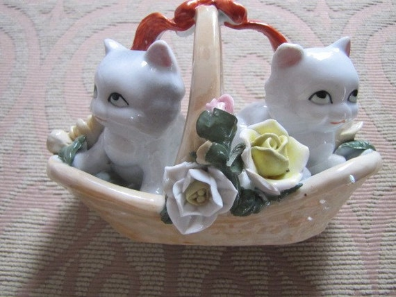 Two White Kittens, Cats in Basket, Ceramic Figurine with Flowers